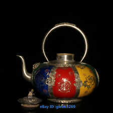 B16 Chinese Old Tibet silver Hand-carved Dragon monkey Inlay porcelain Teapot