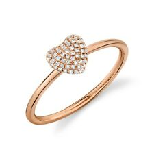 Ring Womens Statement Right Hand Round 14K Rose Gold Diamond Pave Puffy Heart