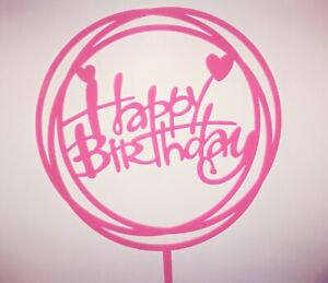 "Topper torta compleanno in plexiglass ""HAPPY BIRTHDAY"""