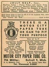 1946 Motor City Paper Tube Co Detroit 9 Vinewood Jolly Gulp Cicero Illinois Ad