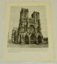 1916 Antique Print/CATHEDRAL OF NOTRE DAME AT REIMS, FRANCE/World War #1