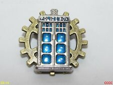 steampunk brooch badge pin cog gearwheel silver tardis Doctor Who timelord scifi