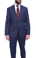 Mens 38S Dkny Slim Fit Navy Blue Plaid Two Button Wool Suit