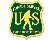 4x4 inch BIGFOOT DEPT Shield Shaped Sticker -decal hunter sasquatch funny humor