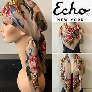 ECHO Signature Silk Jacquard Honey,Pink Combo Floral SCARF 88x88cm Handroll Hems