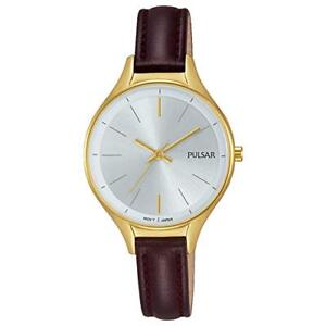 Pulsar Gold Case Brown Leather Strap Ladies Watch PH8280X1 RRP £79.95