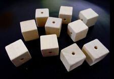 50pcs x 15mm WOODEN CUBE Square Beads - Unpainted Natural Unfinished A56