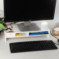 Wood Computer Monitor Stand Desktop Organizer Rack Keyboard Shelf Storage Office