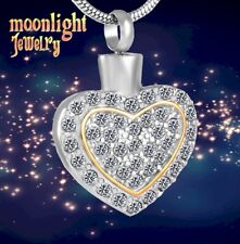 Urn Keepsake Ash Silver Memorial Necklace New Heart of Gold Crystal Cremation