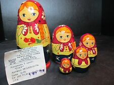 Russia Matpewka 5 Nesting Dolls With Origianl Papers Wooden