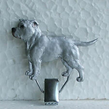 English Staffordshire Bull Terrier White Show Ring Clip Dog Breed Jewellery