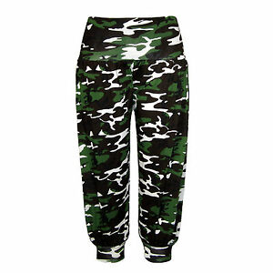 New Ladies 3/4 Cropped Camouflage Print Ali Baba Harem Pants Womens Trouser 8-16