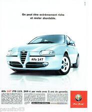 PUBLICITE ADVERTISING 026  2002  Alfa Romeo   ALFA 147 Jtd 115 gris métal
