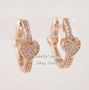 ALLURING HEARTS Authentic PANDORA Rose GOLD Plated Earring HOOPS 287290CZ NEW!