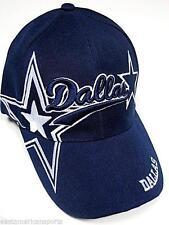 Dallas City Blue Hat Cap Script Visor Embroidered Signature Double Cowboys Star