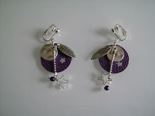 Boucles d'Oreilles Originales Violet/Prune/Argenté Etoile/Imitation cuir clip