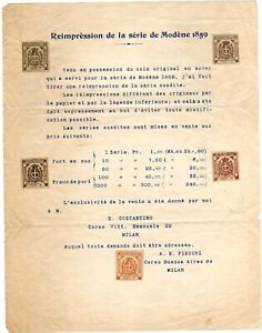 ITALIAN STATES: MODENA 1859 ISSUE 1906 REPRINTS BY FIECCHI ON SALES SHEET