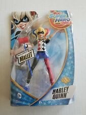 HARLEY QUINN D.C. Super Hero Girls Action Figure w Mallet Mattel Red Blue Hair