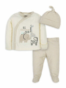 Gerber Unisex Baby 3 Piece Organic Take Me Home Set Neutral Various Sizes NEW