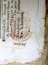 1773 Edinburgh Scotland newspaper w Red British Tax Stamp Year Boston Tea Party