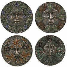 Four Seasons Green Leaf Man plaque ~ set of 4 ~ nature god ~ resin garden decor