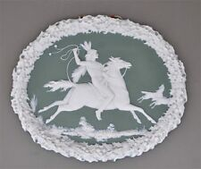 Alte Porzellan Bildplatte in Wegdwood-Art Reitender Indianer auf Pferdejagd