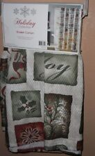 HOLIDAY CHRISTMAS PATCHWORK  FABRIC SHOWER CURTAIN NEW HOLLY LOVE JOY SNOWFLAKES