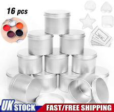 12 Pcs 100ml Aluminum Tins 4 Plastic Candle Tins for DIY Craft Candle Cosmetic