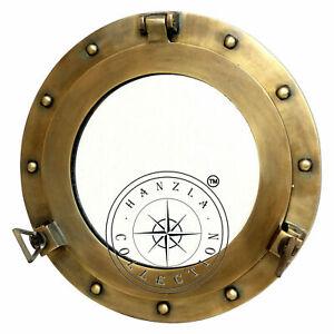 "12"" Antique Brass Porthole Maritime Nautical Ship Wall Decor Window Port Mirror"