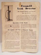 VINTAGE  FRIGIDAIRE  HALIDE LEAK DETECTOR FREON NO. SA-2136 INSTRUCTION MANUAL