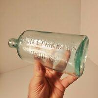 "Vintage Lydia E Pinkham's Medicine Bottle Cork Top Light Blue Approx 8 1/8"" Tall"