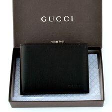 GUCCI New Authentic Designer Mens Logo Leather Bifold Wallet black 278596