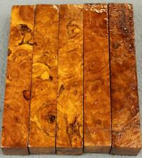"""AFZELIA BURL TURNING BLANK: 3/4"""" SQ X 5"""" NICE VARIETY FOR YOU! 5 PIECE-SET AF216"""