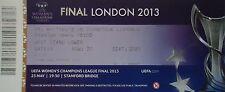 mint TICKET UEFA Womens CL Final 2013 VfL Wolfsburg v Olympique Lyonnais