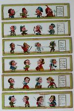 6 Plaques verres scène de caricature pour lanterne magique
