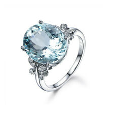 Fashion Aquamarine Zircon Silver Plated Wedding Bridal Ring Size 6-10 NJ116