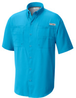 NEW Columbia Mens PFG Tamiami II Omni-Shade Short Sleeve Shirt Riptide XS / 1X