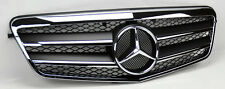 2 Fin Front Hood Sport Black Chrome Grill Grille for Mercedes E Class W212 10-13