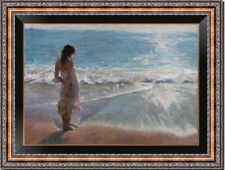 "Original Oil Painting art female Impressionism girl on canvas 24""x36"""