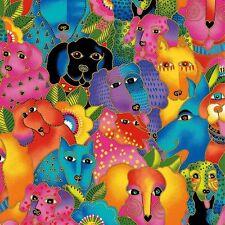 Laurel Burch Dogs & Doggies Fabric Y1798-56M, Multi Bright w/Gold Met. BTY