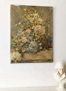 Vtg Renoir Still Life Print On Canvas Oil Finish Floral Bouquet Antique 23x17in