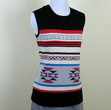 Vintage 1970s Southwestern tribal pattern knit tank top M/L
