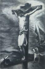 Crucifixion Of Jesus Christ Painting Antique by Artist Pierre Duteurtre Dut