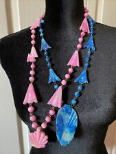 Aztec Cut Stone Necklaces-Two a Blue (Mask) & Pink (Shell) Vintage Looking!