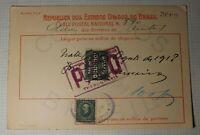 Brazil POstal Receipt Card Deposit 1918 Money Order SC# 193 Revenue Fee 100,000