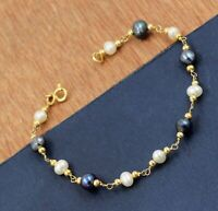 Solid 925 Sterling Silver Pearl Beads Gold Plated Party Wear Gift Bracelet