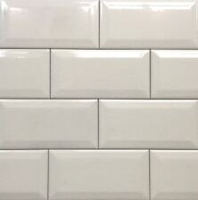 3X6 Bone Crackled Beveled Subway Ceramic Tile Backsplash Decor Bath Kitchen