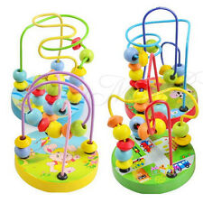 New Children Kids Baby Colorful Wooden Mini Around Beads Educational Game Toy!
