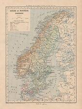 C9094 Suède - Norvège - Danemark - Cartina geografica antica - 1892 antique map