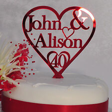 40th Ruby Anniversary Cake Topper Personalised Wedding Heart Couples Two Names